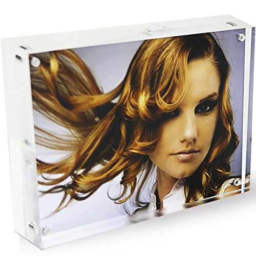 DYCacrlic Acrylic Frames,Clear 5x7 Double Sided Acrylic Picture Frame, Desktop Acrylic Magnetic Photo Frames,Picture Display Stand Holder for Family Love Baby First Day 5 by 7, 20% Extra Thick Blocks (Plastic Thick Block)
