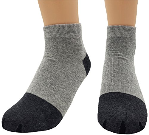 JJMax Womens Cute Kitty Cat Paws Socks with Paw Prints on Toes, Ankle 4 Pair Set, One Size,Ankle 4 Pair Set,One Size