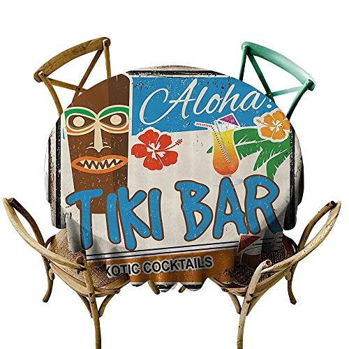 (one1love Round Outdoor Tablecloth Tiki Bar Decor Rusty Vintage Sign Aloha Exotic Cocktails Coconut Drink Antique Nostalgic Resistant/Spill-Proof/Waterproof Table Cover 43 INCH Multicolor)