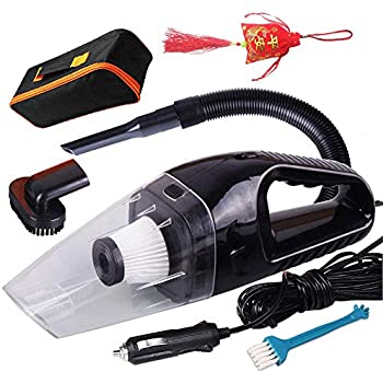 Corded Car Vacuum Cleaner DC12v Volt Wet Dry Portable Auto Vacuum Cleaner for Interior Truck Car Seat Carpet Power Cord with Carry Bag (Vacuum-Black-taiJie-kaiGuan)