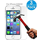 SEGMOI(TM) 3Pack iPhone SE 5S 5C 5 Tempered Glass Screen Protector 9H Hardness