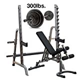 Body-Solid GPR370 Press Rack with Adjustable Bench, 300lb. Weight Set