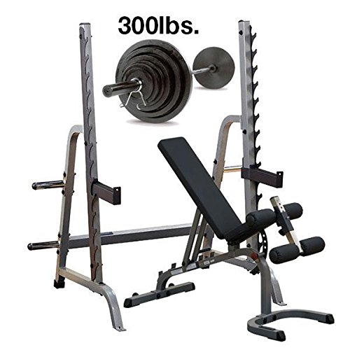 Body-Solid GPR370 Press Rack with Adjustable Bench, 300lb. Weight Set by Body-Solid