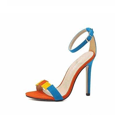 Damenschuhe Frühling und Sommer Mode Koreanische Wildleder Fein mit High Heels (Color : Blue, Größe : 36) MYI