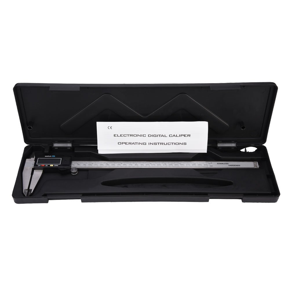 Yosoo 300mm 12 Inch LCD Display Digital Caliper Vernier Micrometer Stainless Steel Electronic Metric Conversion Precision Measurement Tool w/ Hard Case DC08300