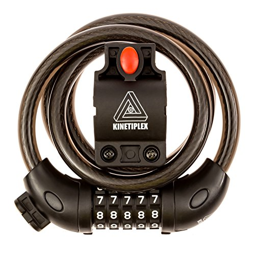Kinetiplex Universal 5 Digit Combination Code Bicycle Cable Lock, 3 Feet, Black