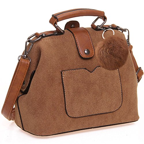 Vegan Suede Women Handbag and Purse - Ladies Top-Handle Doctor's Bag - Crossbody and Shoulder Tote