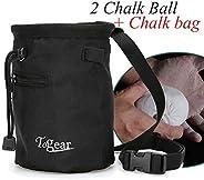 Rock Climbing Chalk Bag w/Drawstring Closure, Belt and Zipper Pocket