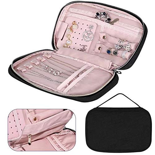 JIDUO Travel Jewelry Storage Bag Organizer for Necklaces, Earrings, Bracelets, Rings, Brooches and More, Compact and Easy to Carry -Carrying Case Jewelry (Black)