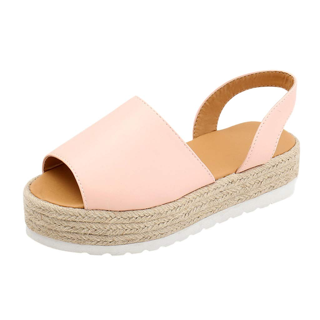 Women Sandals, LIM&Shop  Espadrille Sandal Flat Casual Slippers Ankle Strap Open Toe Leather Shoes Soft Sole Anti Skid Pink by LIM&SHOP-Sandals & Sneakers