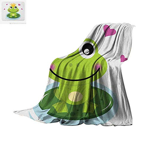 Quilted Frog (Animal Warm Microfiber All Season Blanket Cartoon Cheerful Frog Prince with a Crown and Hearts Fairy Tale Character Doodle Summer Quilt Comforter 50