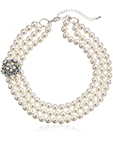 """Simulated Pearl and Glass Three-Row Necklace, 17"""" + 3"""" Extender"""