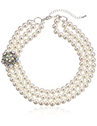 Simulated Cream Pearl 3-Row Silver Tone Necklace, 17+3""