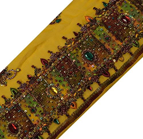 Vintage Sari Border Indian Craft Trim Hand Beaded Embroidered Ribbon Lace Yellow