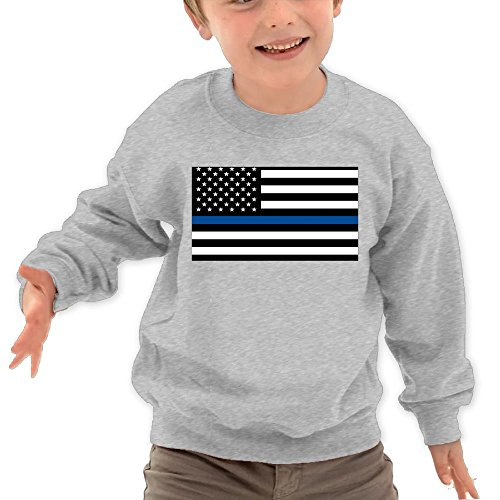 Price comparison product image Puppylol Thin Line Flag Kids Classic Crew-neck Pullover Hoodie Ash 5-6 Toddler