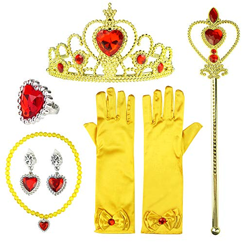 Mypre Princess Dress Up Accessories Set for Princess Belle Crystal Crown Scepter Necklace Earrings Ring Gloves 8Pcs -