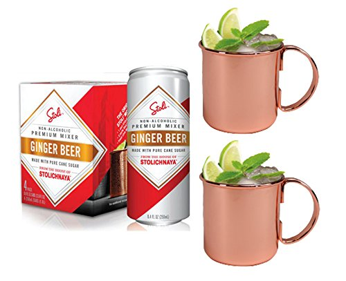 Stoli Ginger Beer and Moscow Mule Mug Combo Set - Includes 4-pack of Stoli Ginger Beer and 2 Copper Moscow Mule Mugs