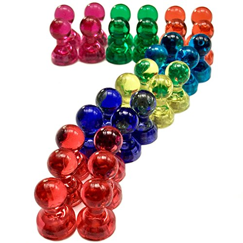 7 COLORS Magnetic Push Pins (30 Pcs.) - Red, Orange, Yellow, Baby Blue, Purple, Green & Pink - Ideal For Organizing Your Space At Home & Office (Cute Classrooms)