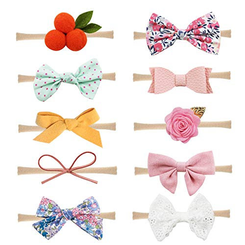 Baby Girl Headbands and Bows Nylon Hairbands Hair Bow Accessories for Newborn Infant Toddler Girls (Bows-A-10PCS) (Baby Headband Felt)
