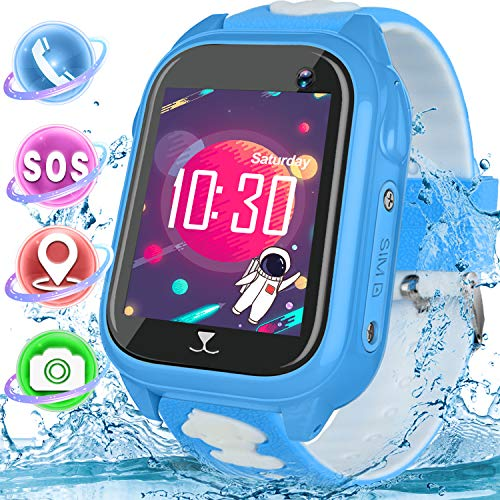 Kids Smart Watch Waterproof GPS, Touch Screen Smartwatch Phone with Two-way Calling Texting Camera,SOS Alarm Kids Travel Watch Learning Toy Summer School Supplies Gift for 3-12 Years Old Boy Girl
