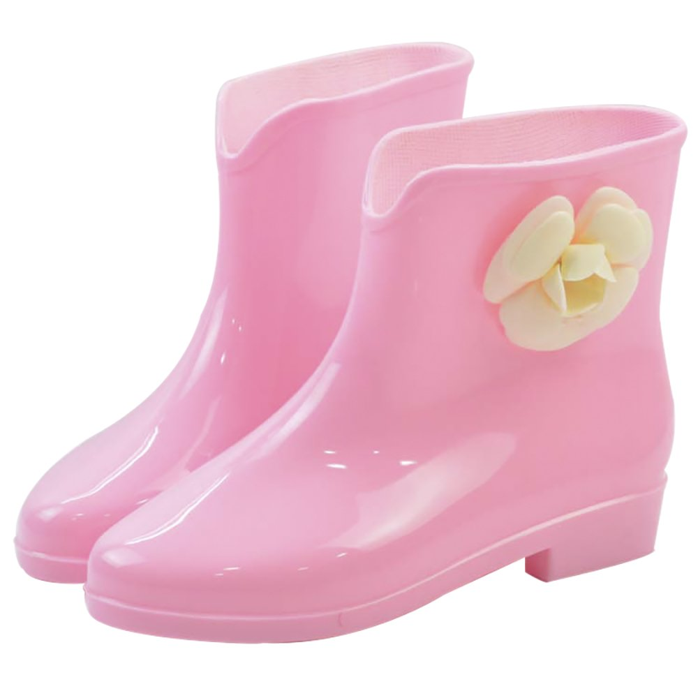 Women's Waterproof Rubber Jelly Anti-Slip Rain Boot Buckle Ankle High Rain Shoes B01J7EWIFY 8 B(M) US|Green Flower