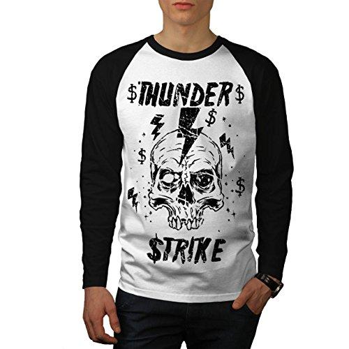[Skull Thunder Strike Lightning Men NEW XL Baseball LS T-shirt | Wellcoda] (Thunder Lightning Costume)