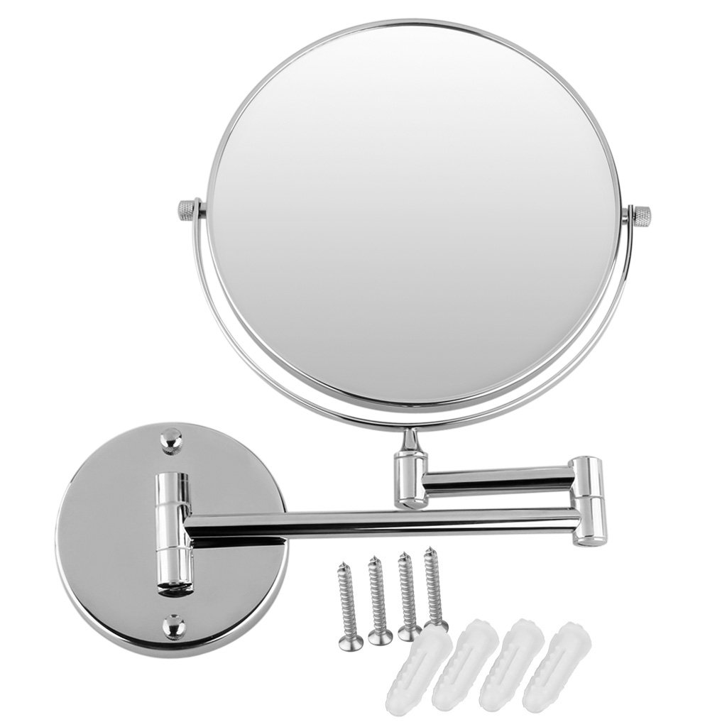 ExcelvanR Chrome Round Extending 8 Inches Cosmetic Wall Mounted Make Up Mirror Shaving Bathroom 10x Magnification Amazoncouk Kitchen Home