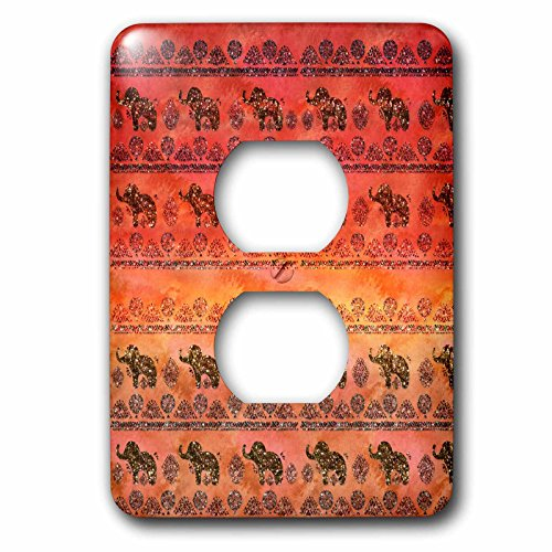 3dRose Uta Naumann Faux Glitter Pattern - Luxury Shiny Chic Animal Elephant Africa Safari Pattern on Faux Metal - Light Switch Covers - 2 plug outlet cover (lsp_269041_6) by 3dRose
