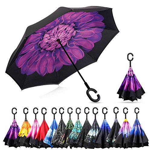 Elover 32in X 8 Panels Double Layer Inverted Umbrella, B - Violet Flower - Twinkle Flowers