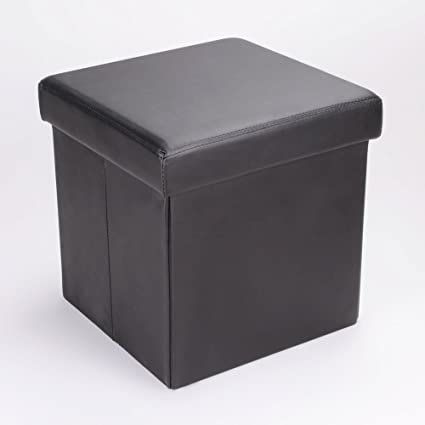 Pleasant Large Faux Leather Ottoman Folding Storage Pouffe Toy Box Foot Stool Seat Single In Black Creativecarmelina Interior Chair Design Creativecarmelinacom