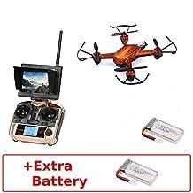 JJRC H32GH (+Extra Battery) Mini 5.8Ghz High Range FPV with LCD Monitor RTF RC Quadcopter Drone One Key Return/Headless Mode 3D flips 2.0MP Camera (Orange)