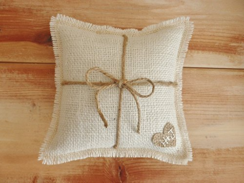 Off-White Burlap Ring Bearer Pillow with Jute Twine and Burlap Heart-Personalize with Initials & Wedding Date