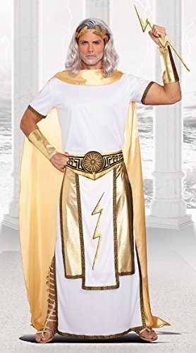 Zeus Greek Costume (Dreamgirl Men's Zeus Costume, White/Gold, Large)
