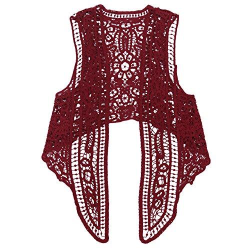 Jastie Pirate Curiosity Open Stitch Cardigan Boho Hippie Crochet Vest (Red), -