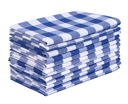 Dinner Napkin Gingham Plaid Check, 100% Cotton Napkin, Wedding Napkins, Cocktails Napkins, Fabric Napkins, Cotton Napkins, Mitered Corners & Generous Hem, Set of 12, 18x18 inches, Ink Blu White Checks (Best Fabric For Napkins)
