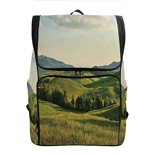 SCOCICI Large Capacity Daypack,Tuscany Hills Italy Meadow,Great for Hiking
