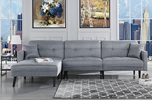 Mid Century Modern Style Linen Sofa Sleeper Futon Sofa, Living Room L Shape Sectional Couch with Reclining Backrest and Chaise Lounge (Light Grey)