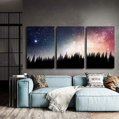 3 Piece Canvas Wall Art - Forest at Night and The Spectacular Galaxy - Modern Home Art Stretched and Framed Ready to Hang - 16
