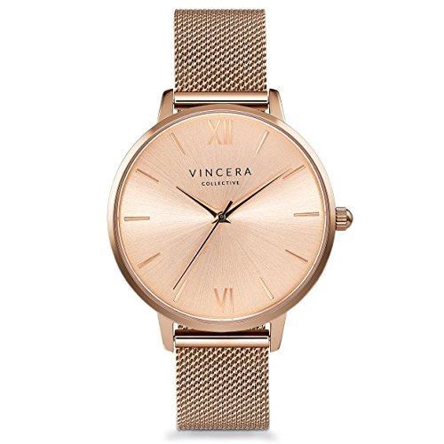 - Vincero Luxury Women's Eros Wrist Watch - Rose Gold + Rose Gold dial with a Rose Gold Mesh Watch Band - 38mm Analog Watch - Japanese Quartz Movement