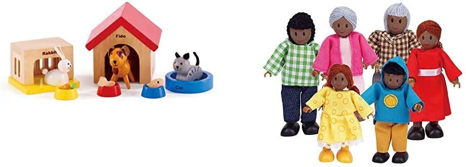 Family Pets Wooden Dollhouse Animal Set by Hape | Complete Your Wooden Dolls House with Happy Dog, Cat & African American Wooden Doll House Family