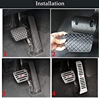 Automatic Transmission, 2 Sets No Drill/ Anti-Slip Aluminum-Alloy/ Brake and Gas Pedal Pad TTCR-II/ Pedal Covers for Audi A3 Q3 TT Pedal Covers for Audi Q3