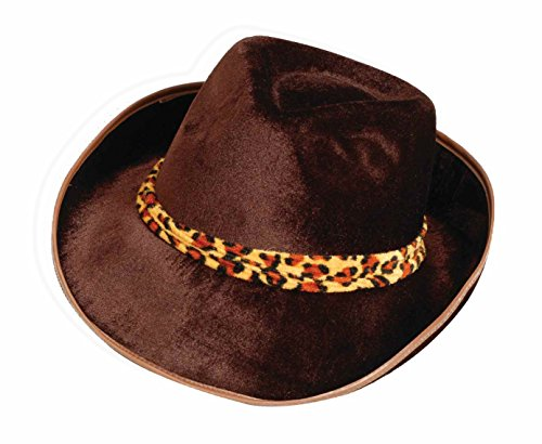 Leopard Velvet Costume - Forum Novelties Men's Novelty Adult Velvet Fedora Hat, Brown/Leopard, One Size