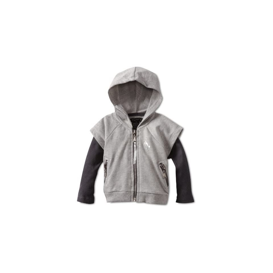 Baby Phat   Kids Baby Girls French Terry Twofer Hoodie, Gray, 12