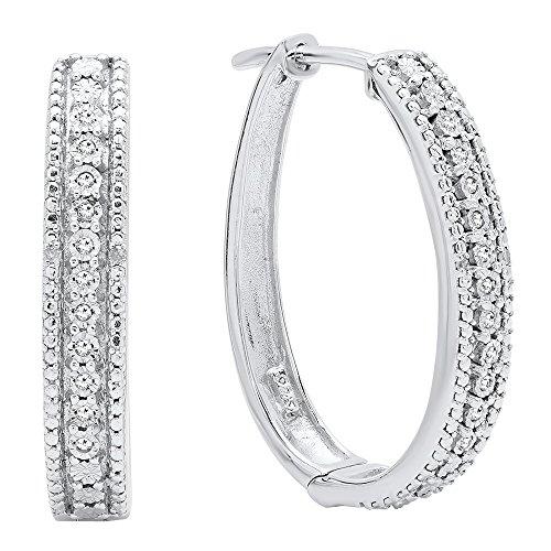 0.10 Carat (ctw) Sterling Silver Round White Diamond Ladies Hoop Earrings 1/10 CT