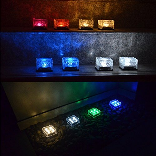 SurSync Waterproof Solar Path Lights Color Changing(RGB) Ice Cube Lamp LED Frosted Glass Brick Rock Lamp In-groud Buried Lights for Indoor &Outdoor (Frosted Rocks Glass)