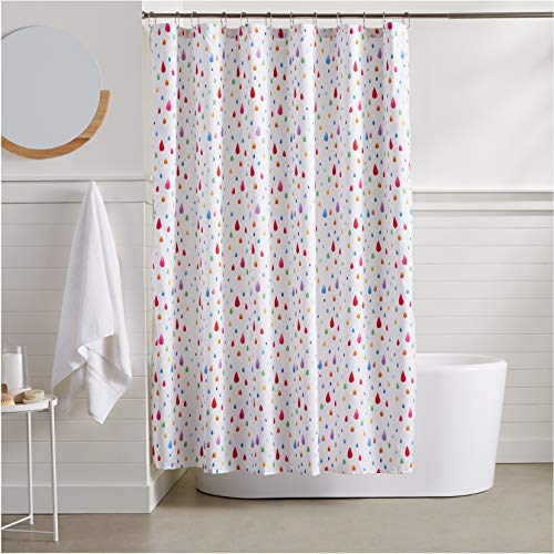 AmazonBasics Rainbow Raindrop Shower Curtain - 72 Inch