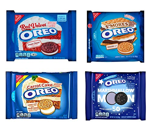 Oreo Cookies Variety Pack of 4 Bags - Smores, Marshmallow Moon, Carrot Cake, Red Velvet