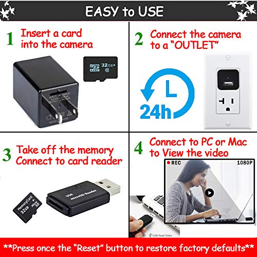 Spy USB Charger Mini Camera, HD 1080P Hidden Camera USB Wall Adapter with Motion Detection, Home Security System Small Secret Nanny Camera (No Wi-Fi)