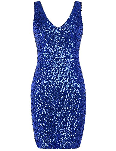 PrettyGuide Women Sexy Deep V Neck Sequin Glitter Bodycon Stretchy Mini Party Dress M Blue