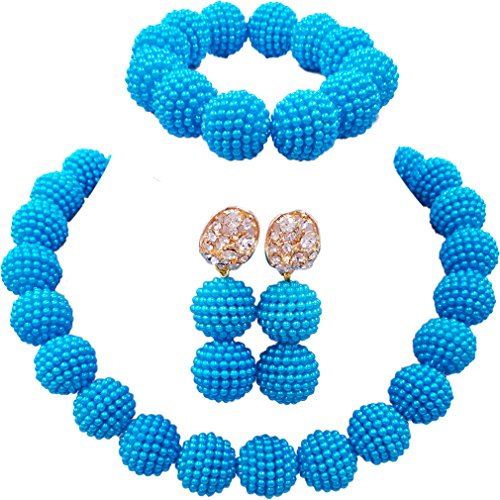 (aczuv Nigerian Wedding African Beads Jewelry Set Women Simulated Pearl Necklace and)